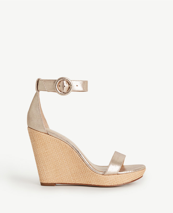 ann taylor_Francesca Metallic Leather Wedges