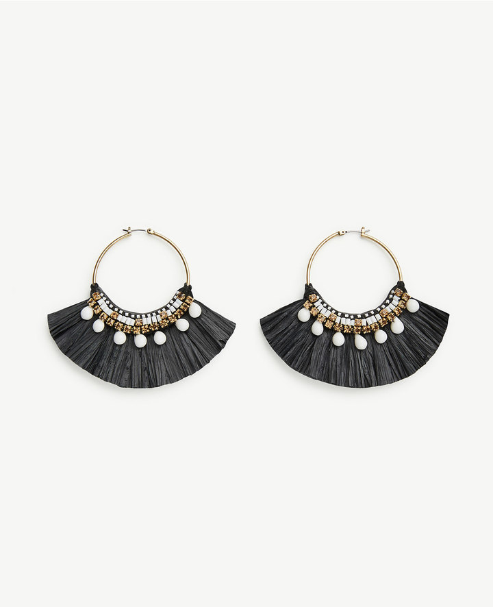 ann taylor_Raffia Hoop Earrings