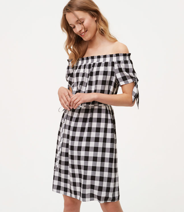 loft_Gingham Tie Off The Shoulder Dress